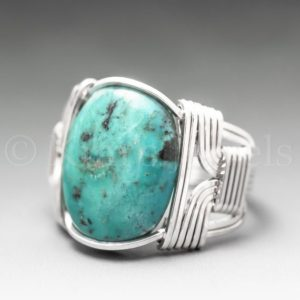 Turquoise Sterling Silver Wire Wrapped Gemstone Cabochon Ring – Optional Oxidation/Antiquing – Made to Order, Ships Fast! | Natural genuine Gemstone rings, simple unique handcrafted gemstone rings. #rings #jewelry #shopping #gift #handmade #fashion #style #affiliate #ad