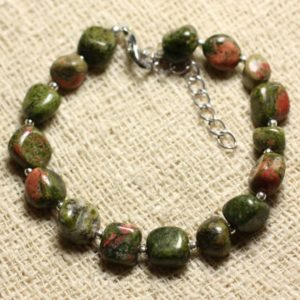 Shop Unakite Bracelets! Gemstone – Unakite 8mm Nuggets and 925 sterling silver bracelet | Natural genuine Unakite bracelets. Buy crystal jewelry, handmade handcrafted artisan jewelry for women.  Unique handmade gift ideas. #jewelry #beadedbracelets #beadedjewelry #gift #shopping #handmadejewelry #fashion #style #product #bracelets #affiliate #ad