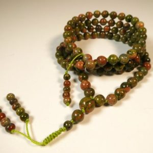Shop Unakite Necklaces! 6mm Unakite Mala, Hand-Knotted Mala (AAA) (108 and Guru) with a Beaded Tassel 2387 | Natural genuine Unakite necklaces. Buy crystal jewelry, handmade handcrafted artisan jewelry for women.  Unique handmade gift ideas. #jewelry #beadednecklaces #beadedjewelry #gift #shopping #handmadejewelry #fashion #style #product #necklaces #affiliate #ad