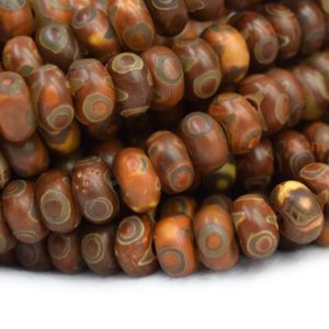 "Shop Agate Rondelle Beads! 14.5"" 8x12mm/10x14mm Antique Brown Bulk tibetan DZI agate rondelle beads, semi-precious stone, three eye ZGYG 