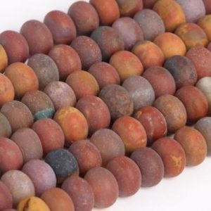 Shop Agate Rondelle Beads! Genuine Natural Matte Ocean Fossil Agate Loose Beads Rondelle Shape 6x4mm 8x5mm | Natural genuine rondelle Agate beads for beading and jewelry making.  #jewelry #beads #beadedjewelry #diyjewelry #jewelrymaking #beadstore #beading #affiliate #ad
