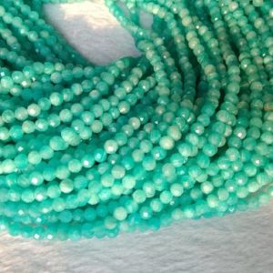 "Shop Amazonite Faceted Beads! 15.5"" AAA 4mm Natural amazonite round micro faceted beads, Green semi-precious stone DIY beads LGYO 