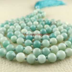 Amazonite Mala Necklace, Necklace 8mm Japamala, 108 Buddhist Prayer Bead, Hand-Knotted Mala, Dreamy Mala, Ocean Mala, Prayer Beads 3972 | Natural genuine Gemstone necklaces. Buy crystal jewelry, handmade handcrafted artisan jewelry for women.  Unique handmade gift ideas. #jewelry #beadednecklaces #beadedjewelry #gift #shopping #handmadejewelry #fashion #style #product #necklaces #affiliate #ad
