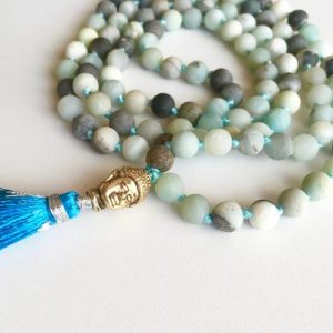 Shop Amazonite Necklaces! Amazonite Mala, 108 Bead Malas, Hand Knotted Necklace, Amazonite Mala Necklace Beaded Necklace, Mala with Tassel, Matte Necklaces, Amazonite | Natural genuine Amazonite necklaces. Buy crystal jewelry, handmade handcrafted artisan jewelry for women.  Unique handmade gift ideas. #jewelry #beadednecklaces #beadedjewelry #gift #shopping #handmadejewelry #fashion #style #product #necklaces #affiliate #ad