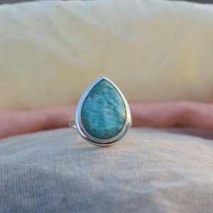 Shop Amazonite Rings! Beautiful Amazonite Pear Cab Ring, 925 Sterling Silver Ring, Womens Rings, Unique Ring, Birthstone Ring, Gifts for Her, Wedding Ring, Sale | Natural genuine Amazonite rings, simple unique alternative gemstone engagement rings. #rings #jewelry #bridal #wedding #jewelryaccessories #engagementrings #weddingideas #affiliate #ad
