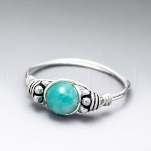 Shop Amazonite Rings! Gemmy Blue Amazonite Bali Sterling Silver Wire Wrapped Gemstone BEAD Ring – Made to Order, Ships Fast! | Natural genuine Amazonite rings, simple unique handcrafted gemstone rings. #rings #jewelry #shopping #gift #handmade #fashion #style #affiliate #ad