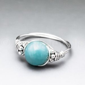Shop Amazonite Rings! Peruvian Blue Amazonite Bali Sterling Silver Wire Wrapped Gemstone BEAD Ring – Made to Order, Ships Fast! | Natural genuine Amazonite rings, simple unique handcrafted gemstone rings. #rings #jewelry #shopping #gift #handmade #fashion #style #affiliate #ad