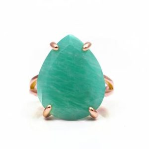 Shop Amazonite Rings! Amazonite Ring · Rose Gold Ring · Fashion Ring For Women · Statement Teardrop Ring · Pear Ring · Pink Gold Stone Ring · Teardrop Cut Ring | Natural genuine Amazonite rings, simple unique handcrafted gemstone rings. #rings #jewelry #shopping #gift #handmade #fashion #style #affiliate #ad
