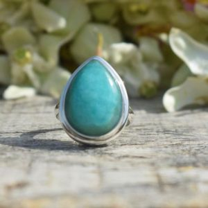Shop Amazonite Rings! Simple Amazonite Ring, Pear Gemstone, Handmade Ring, Blue Color Gemstone, 925 Silver Ring, Silver Band Ring, Gift For Her, Birthday Gift | Natural genuine Amazonite rings, simple unique handcrafted gemstone rings. #rings #jewelry #shopping #gift #handmade #fashion #style #affiliate #ad