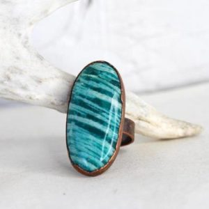 Shop Amazonite Rings! Amazonite Ring – Size 7 1/2 – Large Oval Cabochon – Bright Blue Stone – Natural Stone Ring | Natural genuine Amazonite rings, simple unique handcrafted gemstone rings. #rings #jewelry #shopping #gift #handmade #fashion #style #affiliate #ad