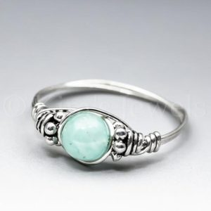 Shop Amazonite Rings! Soft Blue Amazonite Bali Sterling Silver Wire Wrapped Gemstone Bead Ring – Made To Order, Ships Fast! | Natural genuine Amazonite rings, simple unique handcrafted gemstone rings. #rings #jewelry #shopping #gift #handmade #fashion #style #affiliate #ad