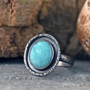 Shop Amazonite Rings! Amazonite Ring Sterling Silver, Size 9, Rustic Artisan Silversmith Jewelry Handmade, Unique Sky Blue Gemstone | Natural genuine Amazonite rings, simple unique handcrafted gemstone rings. #rings #jewelry #shopping #gift #handmade #fashion #style #affiliate #ad