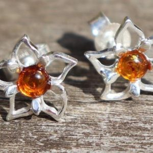 Shop Amber Earrings! Baltic Amber, 925 Silver Flower, Healing Stone Earrings with Positive Healing Energy! | Natural genuine Amber earrings. Buy crystal jewelry, handmade handcrafted artisan jewelry for women.  Unique handmade gift ideas. #jewelry #beadedearrings #beadedjewelry #gift #shopping #handmadejewelry #fashion #style #product #earrings #affiliate #ad