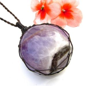 Shop Amethyst Necklaces! Amethyst pendant necklace, Calming crystals,  Amethyst necklace, Amethyst pendent, macrame necklace, macrame jewelry, earth aura creations | Natural genuine Amethyst necklaces. Buy crystal jewelry, handmade handcrafted artisan jewelry for women.  Unique handmade gift ideas. #jewelry #beadednecklaces #beadedjewelry #gift #shopping #handmadejewelry #fashion #style #product #necklaces #affiliate #ad