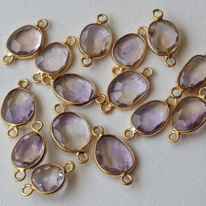 Shop Ametrine Stones & Crystals! 14-16mm Ametrine Rose Cut Free Form Shape Connectors, 5 Pcs Double Loop 925 Silver with Gold Polish, Bezel Findings, Ametrine Bezel – PDG260 | Natural genuine stones & crystals in various shapes & sizes. Buy raw cut, tumbled, or polished gemstones for making jewelry or crystal healing energy vibration raising reiki stones. #crystals #gemstones #crystalhealing #crystalsandgemstones #energyhealing #affiliate #ad