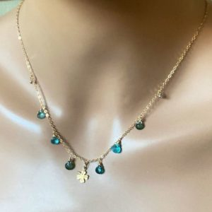 Shop Apatite Necklaces! Blue Green Apatite Stone 14k Gold Fill Chain Choker Necklace. Dainty, Delicate Necklace. | Natural genuine Apatite necklaces. Buy crystal jewelry, handmade handcrafted artisan jewelry for women.  Unique handmade gift ideas. #jewelry #beadednecklaces #beadedjewelry #gift #shopping #handmadejewelry #fashion #style #product #necklaces #affiliate #ad