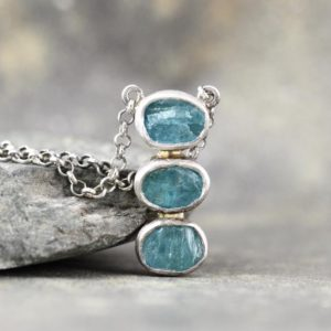 Shop Apatite Pendants! Apatite Trio Pendant – Rustic Apatite Necklace – Raw Rough Uncut Blue/Green Gemstone Jewellery – Sterling Silver | Natural genuine Apatite pendants. Buy crystal jewelry, handmade handcrafted artisan jewelry for women.  Unique handmade gift ideas. #jewelry #beadedpendants #beadedjewelry #gift #shopping #handmadejewelry #fashion #style #product #pendants #affiliate #ad