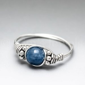 Shop Apatite Rings! Blue Apatite Bali Sterling Silver Wire Wrapped Gemstone BEAD Ring – Made to Order, Ships Fast!   Natural genuine Apatite rings, simple unique handcrafted gemstone rings. #rings #jewelry #shopping #gift #handmade #fashion #style #affiliate #ad