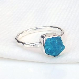 Shop Apatite Rings! Blue Apatite Ring, Natural Gemstone, Hammered Band Ring, Blue Gemstone Ring, Handmade Ring, Silver Jewelry, Christmas Gift, Made For Her | Natural genuine Apatite rings, simple unique handcrafted gemstone rings. #rings #jewelry #shopping #gift #handmade #fashion #style #affiliate #ad