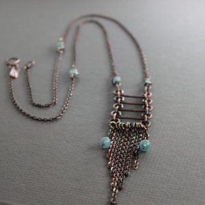 Shop Aquamarine Necklaces! Long trendy tassel fringe copper necklace with aquamarine stones – Ladder fringe necklace – Cascade Necklace – Aquamarine necklace – NK045 | Natural genuine Aquamarine necklaces. Buy crystal jewelry, handmade handcrafted artisan jewelry for women.  Unique handmade gift ideas. #jewelry #beadednecklaces #beadedjewelry #gift #shopping #handmadejewelry #fashion #style #product #necklaces #affiliate #ad