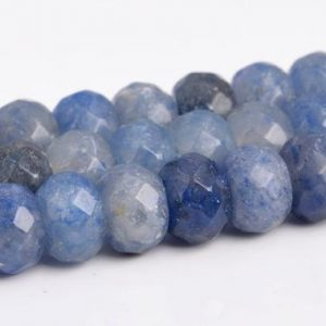 """Shop Aventurine Faceted Beads! 6x4MM Blue Aventurine Beads AAA Genuine Natural Gemstone Faceted Rondelle Loose Beads 15"""" / 7.5"""" Bulk Lot Options (103431) 