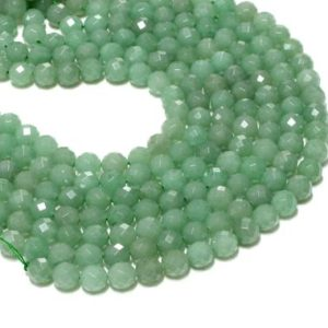 """Shop Aventurine Faceted Beads! Green Aventurine beads,faceted beads,gemstone beads,round beads,loose beads,semiprecious beads, AA Quality – 16"""" Full Strand 