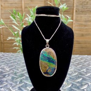 Shop Azurite Pendants! Azurite Malachite Silver Pendant, Womens Statement Gemstone Necklace, Oval Stone Silver Pendant, Christmas Gift for Wife | Natural genuine Azurite pendants. Buy crystal jewelry, handmade handcrafted artisan jewelry for women.  Unique handmade gift ideas. #jewelry #beadedpendants #beadedjewelry #gift #shopping #handmadejewelry #fashion #style #product #pendants #affiliate #ad