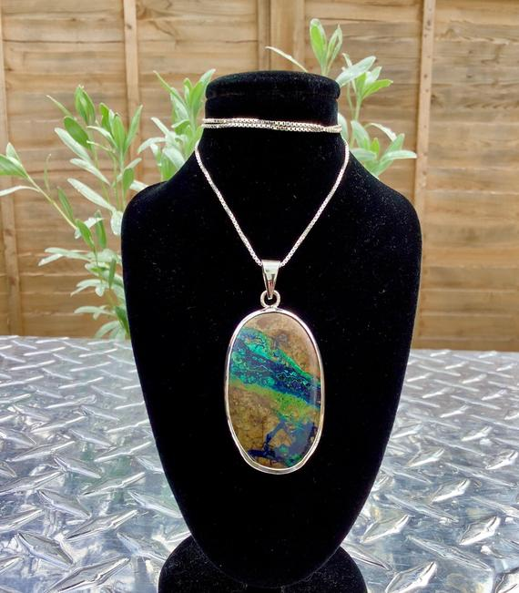 Azurite Malachite Silver Pendant, Womens Statement Gemstone Necklace, Oval Stone Silver Pendant, Christmas Gift For Wife