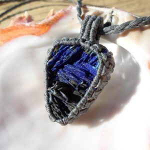 Shop Azurite Pendants! Raw Azurite Necklace, Azurite Macrame Stone Pendant, Genuine Untreated Raw Stone Necklace, Rough Gemstone, Rustic Hippie Necklace | Natural genuine Azurite pendants. Buy crystal jewelry, handmade handcrafted artisan jewelry for women.  Unique handmade gift ideas. #jewelry #beadedpendants #beadedjewelry #gift #shopping #handmadejewelry #fashion #style #product #pendants #affiliate #ad