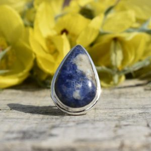 Shop Azurite Rings! Blue Azurite Ring, Pear Gemstone Jewelry, Natuarl Gemstone Ring, Handmade Ring, 925 Sterling Silver, Silver Ring, Unique Ring, Gift | Natural genuine Azurite rings, simple unique handcrafted gemstone rings. #rings #jewelry #shopping #gift #handmade #fashion #style #affiliate #ad