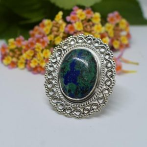 Shop Azurite Rings! Designer Azurite Ring, Simple Band, 925 Silver Ring, Oval Gemstone, Anniversary Gift, Affordable Ring, Gemstone Ring, Boho Ring, Dainty | Natural genuine Azurite rings, simple unique handcrafted gemstone rings. #rings #jewelry #shopping #gift #handmade #fashion #style #affiliate #ad