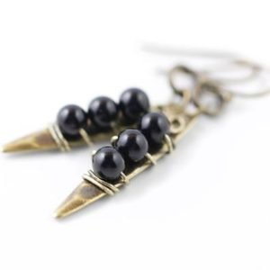 Shop Black Tourmaline Earrings! Black Tourmaline Spike Earrings, Rustic Earrings, Rustic Jewelry, Bronze  or Sterling Silver Boho Tribal Earrings, Choice of Gemstone, Yoga | Natural genuine Black Tourmaline earrings. Buy crystal jewelry, handmade handcrafted artisan jewelry for women.  Unique handmade gift ideas. #jewelry #beadedearrings #beadedjewelry #gift #shopping #handmadejewelry #fashion #style #product #earrings #affiliate #ad