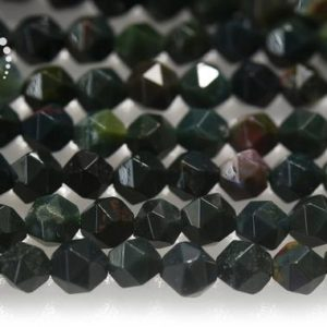 """Bloodstone Faceted Nugget Star Cut Bead, diamond Cut Bead, nugget Beads, natural, gemstone, 6mm 8mm 10mm, 15"""" Full Strand 