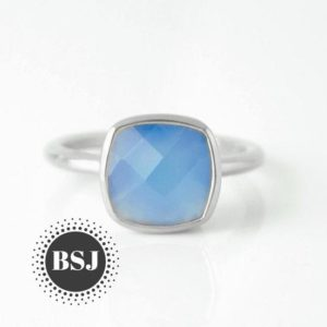 Shop Blue Chalcedony Rings! Simple Chalcedony Ring, Blue Chalcedony Ring, Blue Gemstone Ring, Tiny Rings, Gift For Mom, Statement Rings, Can Be Personalized, Sale | Natural genuine Blue Chalcedony rings, simple unique handcrafted gemstone rings. #rings #jewelry #shopping #gift #handmade #fashion #style #affiliate #ad
