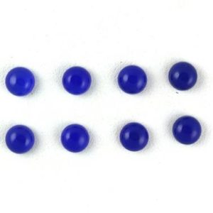 Shop Blue Chalcedony Beads! AAA Quality 4 Pair Royal Blue Chalcedony Cabochons,Flat Back Cabs,Blue Cabochons,loose blue cabochons,Round Chalcedony Cabs,Smooth Cabochon | Natural genuine round Blue Chalcedony beads for beading and jewelry making.  #jewelry #beads #beadedjewelry #diyjewelry #jewelrymaking #beadstore #beading #affiliate #ad