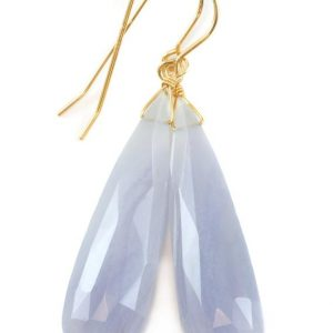 Shop Blue Lace Agate Earrings! Blue Lace Agate Earrings 14k solid gold or filled or Sterling Silver Smooth Long Dangle Drops Natural Banding Soft blue Simple Drops 2.3 In | Natural genuine Blue Lace Agate earrings. Buy crystal jewelry, handmade handcrafted artisan jewelry for women.  Unique handmade gift ideas. #jewelry #beadedearrings #beadedjewelry #gift #shopping #handmadejewelry #fashion #style #product #earrings #affiliate #ad