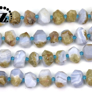 """Shop Blue Lace Agate Chip & Nugget Beads! Blue Lace Agate faceted nugget beads,irregular bead,centre drilled bead,Blue Chalecdony,Agate beads,natural,diy,8-14×16-18mm,15"""" full strand 