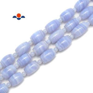 Shop Blue Lace Agate Bead Shapes! Blue Lace Agate Graduated Drum Shape Beads Size 13×18~15x22mm 15.5'' Strand   Natural genuine other-shape Blue Lace Agate beads for beading and jewelry making.  #jewelry #beads #beadedjewelry #diyjewelry #jewelrymaking #beadstore #beading #affiliate #ad