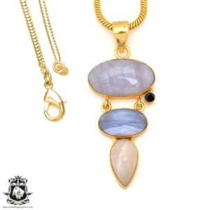 Shop Blue Lace Agate Pendants! Blue Lace Agate 24K Gold Plated Pendant 4mm Snake Chain GP85   Natural genuine Blue Lace Agate pendants. Buy crystal jewelry, handmade handcrafted artisan jewelry for women.  Unique handmade gift ideas. #jewelry #beadedpendants #beadedjewelry #gift #shopping #handmadejewelry #fashion #style #product #pendants #affiliate #ad