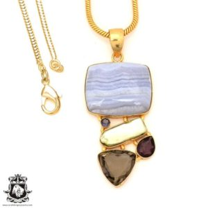 Shop Blue Lace Agate Pendants! Blue Lace Agate 24K Gold Plated Pendant 3MM Italian Snake Chain GP78 | Natural genuine Blue Lace Agate pendants. Buy crystal jewelry, handmade handcrafted artisan jewelry for women.  Unique handmade gift ideas. #jewelry #beadedpendants #beadedjewelry #gift #shopping #handmadejewelry #fashion #style #product #pendants #affiliate #ad