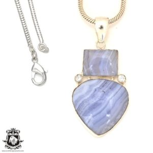 Shop Blue Lace Agate Pendants! Blue Lace Agate Pendant 4mm Snake Chain P7186   Natural genuine Blue Lace Agate pendants. Buy crystal jewelry, handmade handcrafted artisan jewelry for women.  Unique handmade gift ideas. #jewelry #beadedpendants #beadedjewelry #gift #shopping #handmadejewelry #fashion #style #product #pendants #affiliate #ad