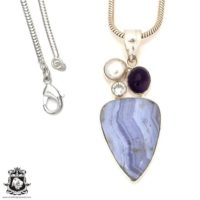 Blue Lace Agate Pendant 4mm Snake Chain P7172 | Natural genuine Gemstone jewelry. Buy crystal jewelry, handmade handcrafted artisan jewelry for women.  Unique handmade gift ideas. #jewelry #beadedjewelry #beadedjewelry #gift #shopping #handmadejewelry #fashion #style #product #jewelry #affiliate #ad