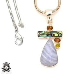 Shop Blue Lace Agate Pendants! Blue Lace Agate Abalone Pendant 4mm Snake Chain P7170   Natural genuine Blue Lace Agate pendants. Buy crystal jewelry, handmade handcrafted artisan jewelry for women.  Unique handmade gift ideas. #jewelry #beadedpendants #beadedjewelry #gift #shopping #handmadejewelry #fashion #style #product #pendants #affiliate #ad