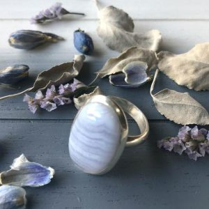 Shop Blue Lace Agate Rings! Blue Lace Agate Adjustable Sterling Silver Ring – A Stone For Calming And Communication   Natural genuine Blue Lace Agate rings, simple unique handcrafted gemstone rings. #rings #jewelry #shopping #gift #handmade #fashion #style #affiliate #ad