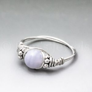 Shop Blue Lace Agate Rings! Blue Lace Agate Bali Sterling Silver Wire Wrapped Gemstone Bead Ring – Made To Order, Ships Fast! | Natural genuine Blue Lace Agate rings, simple unique handcrafted gemstone rings. #rings #jewelry #shopping #gift #handmade #fashion #style #affiliate #ad