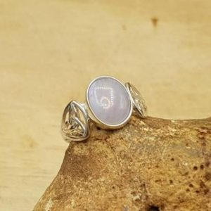 Shop Blue Lace Agate Rings! Blue lace agate Celtic knot ring. Reiki jewelry. Pisces jewelry. Gemstone ring. 10x8mm stone. UK size M. Sterling silver rings for women | Natural genuine Blue Lace Agate rings, simple unique handcrafted gemstone rings. #rings #jewelry #shopping #gift #handmade #fashion #style #affiliate #ad