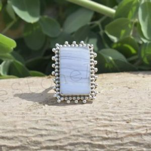 Shop Blue Lace Agate Rings! Blue Lace Agate, Agate Silver Ring, Silver Jewelry, Agate Jewelry, Boho, Dainty, Statement Ring, Casual Wear, Christmas Ring, Sale, Birthday | Natural genuine Blue Lace Agate rings, simple unique handcrafted gemstone rings. #rings #jewelry #shopping #gift #handmade #fashion #style #affiliate #ad