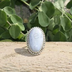 Shop Blue Lace Agate Rings! Blue Lace Agate, Silver Ring, Natural Stone Ring, Boho Ring, Handmade Ring , Statement Ring, Heavy Ring, Lace Agate Jewelry, Designer Ring | Natural genuine Blue Lace Agate rings, simple unique handcrafted gemstone rings. #rings #jewelry #shopping #gift #handmade #fashion #style #affiliate #ad