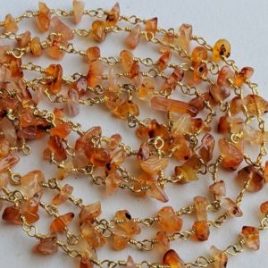 Shop Carnelian Chip & Nugget Beads! 5-10mm Carnelian Wire Wrapped Chip Beads, Rosary Style Beaded Chain, 925 Silver Gold Plated Carnelian Chip Necklace (1Foot To 5Feet Options) | Natural genuine chip Carnelian beads for beading and jewelry making.  #jewelry #beads #beadedjewelry #diyjewelry #jewelrymaking #beadstore #beading #affiliate #ad