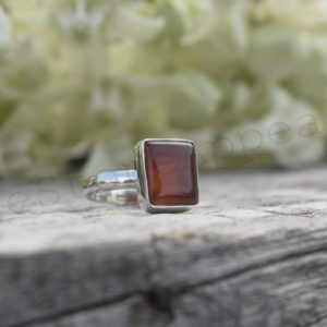 Shop Carnelian Rings! Artisan Carnelian Ring, Orange Carnelian, Simple Silver Ring, Orange Gemstone, Boho Ring, Single Band Ring, Gypsy Ring, Gift For Sis, Dainty | Natural genuine Carnelian rings, simple unique handcrafted gemstone rings. #rings #jewelry #shopping #gift #handmade #fashion #style #affiliate #ad